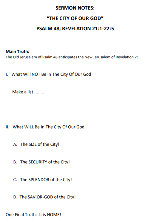 The City Of Our God – Faith Community Fellowship Church